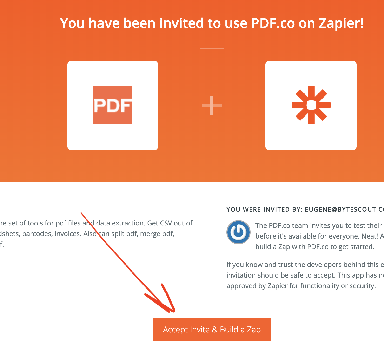 accept invite for PDF.co Zapier plugin to add PDf.co to your Zapier account