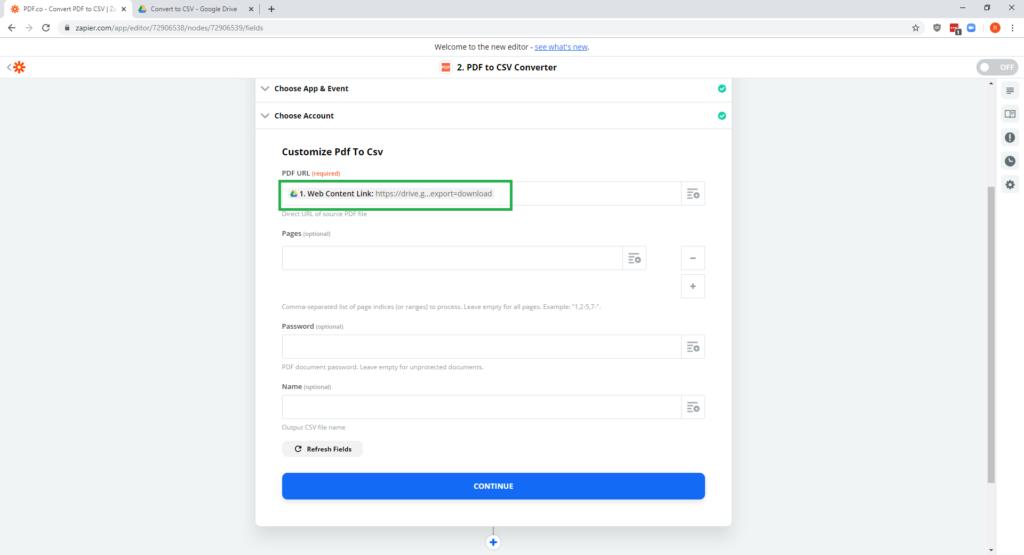 Step 11 - PDF-co Zapier Google Drive - PDF to CSV