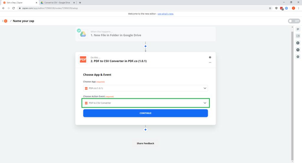 Step 9 - PDF-co Zapier Google Drive - PDF to CSV