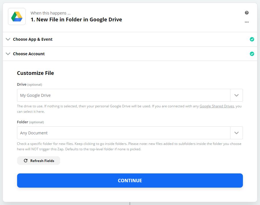 Zapier - Google Drive - Customize Input File