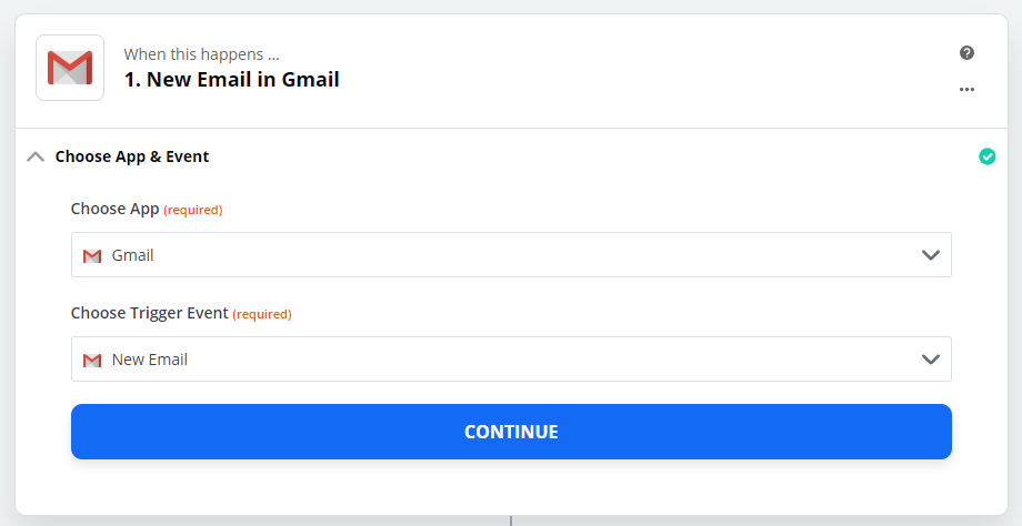 Zapier - New Email in Gmail
