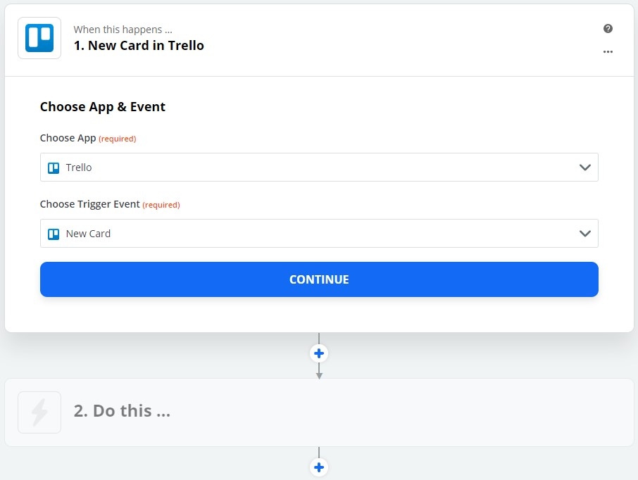 Zapier - Trello - Choose Trigger Event