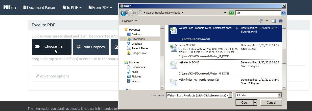 Convert Excel to PDF Online