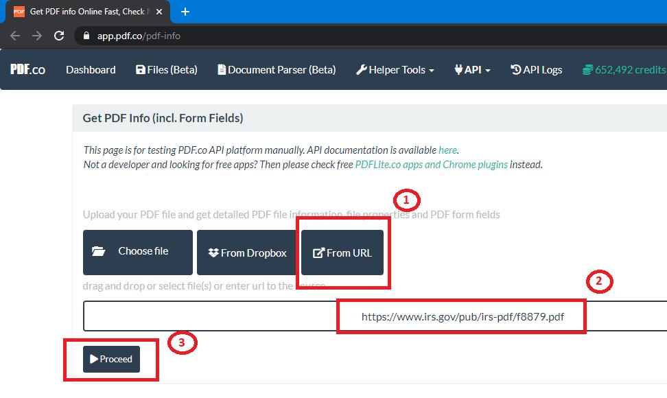 PDF.co's Get PDF Info Tool