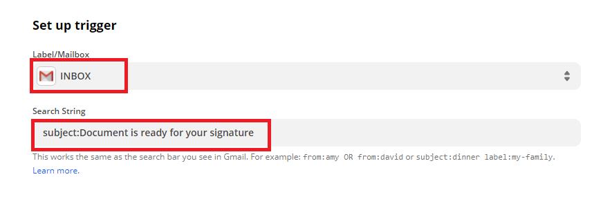 Setup Gmail Trigger