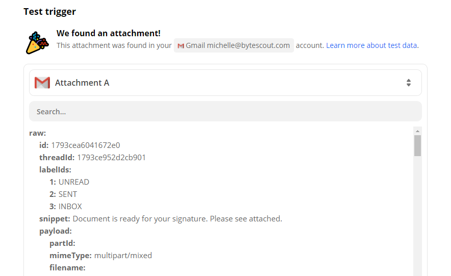 Gmail Test Trigger Result
