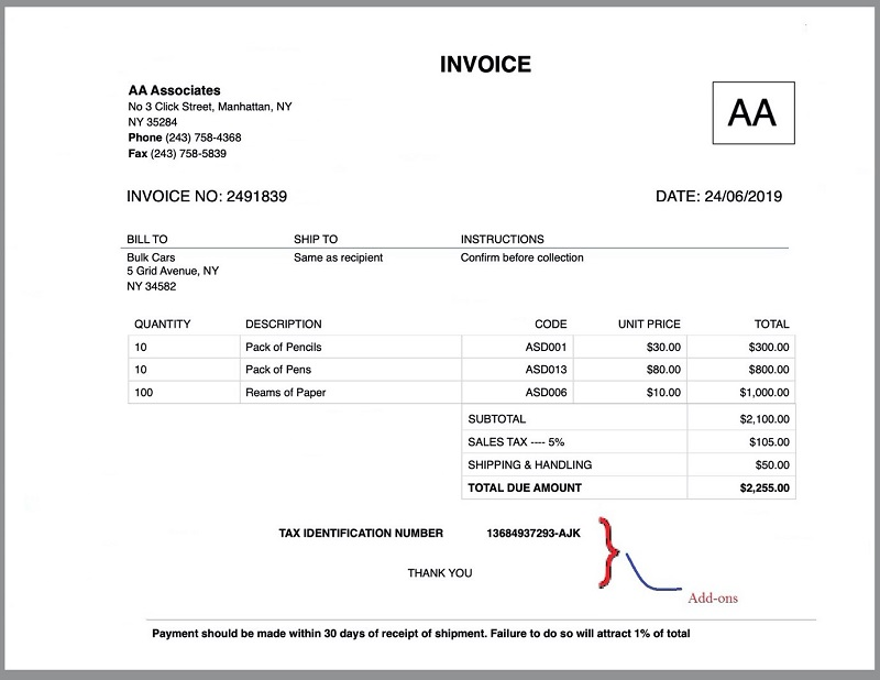 Invoice Add-ons