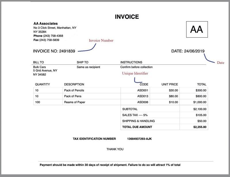 Invoice Identifiers