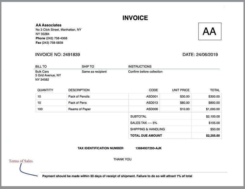 Invoice Terms of Sales