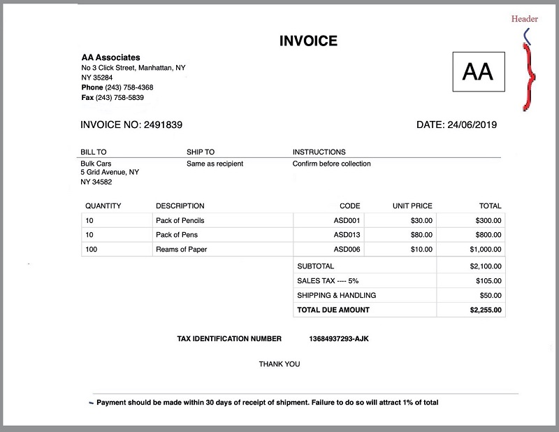 Create Invoice Header