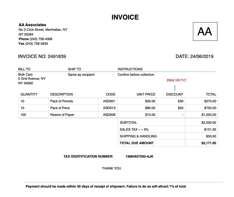 How to Create Invoice With Discount