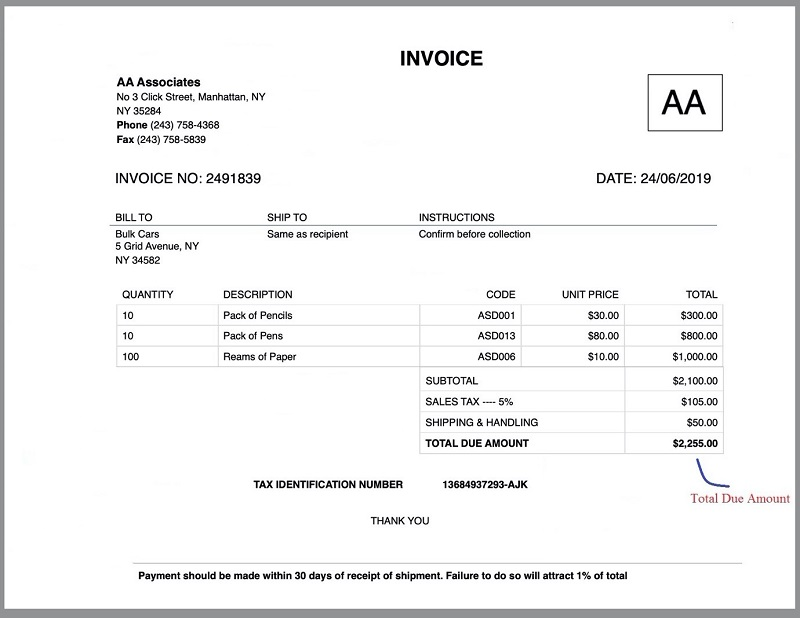 Invoice Total Due Amount