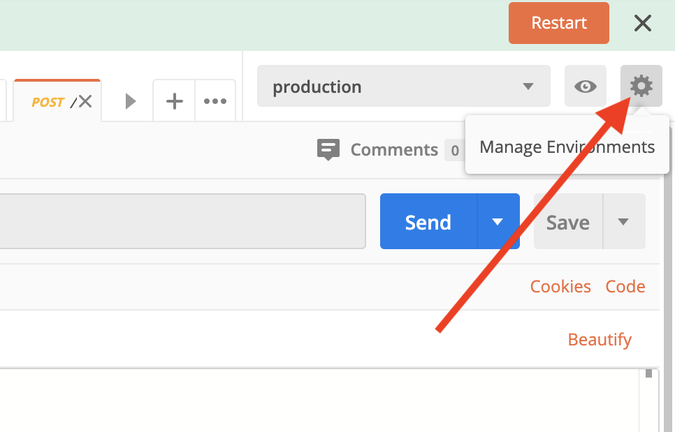 click on the Cog icon to setup environments in Postman