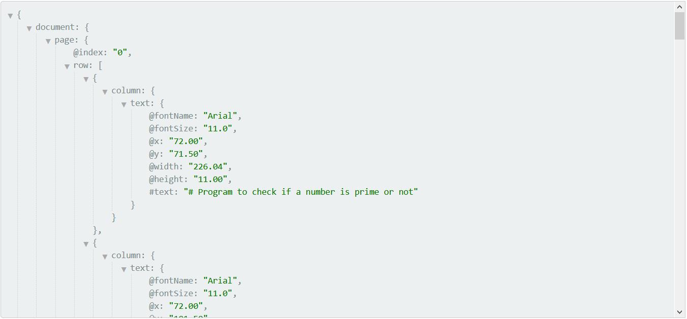 PDF to JSON Output