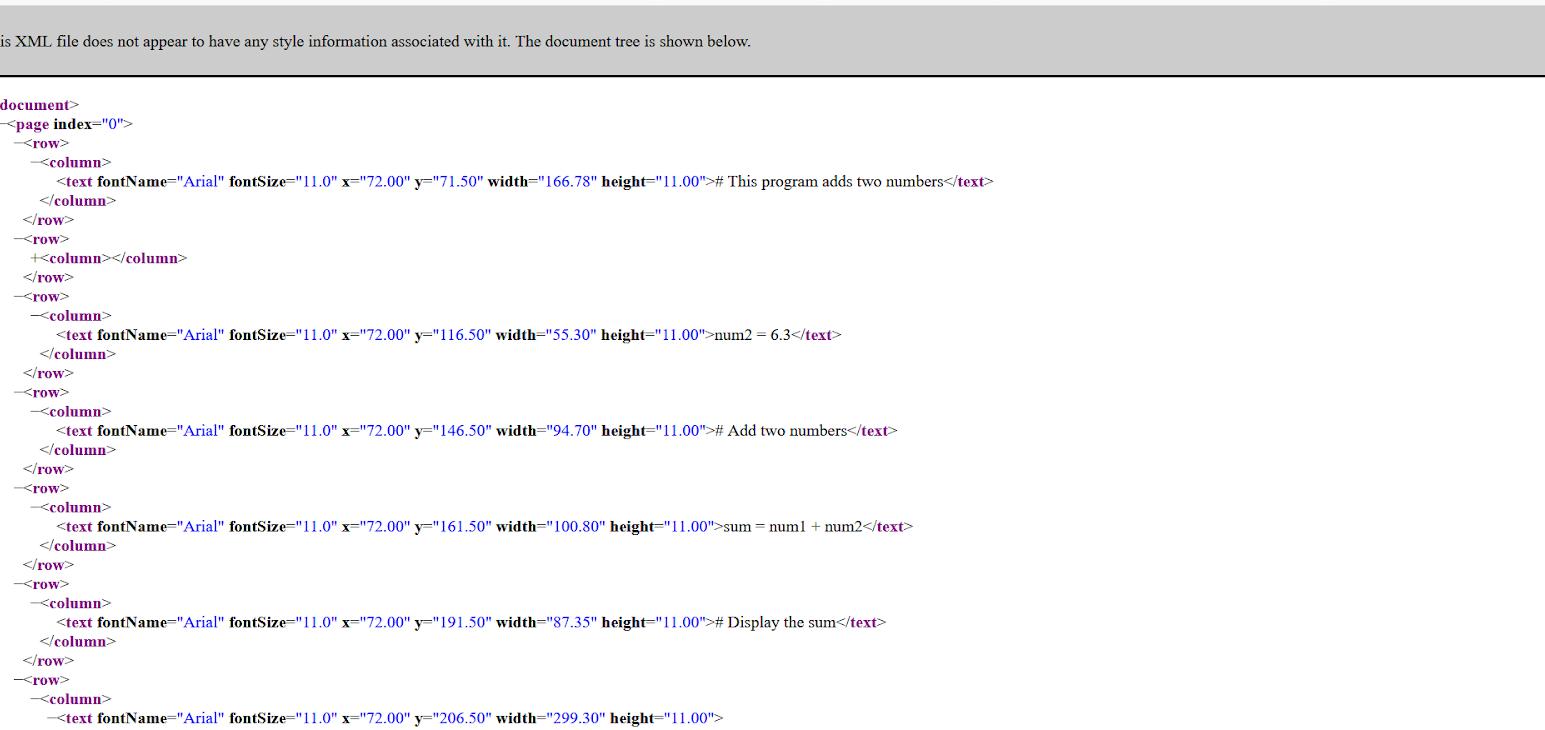 PDF to XML Output