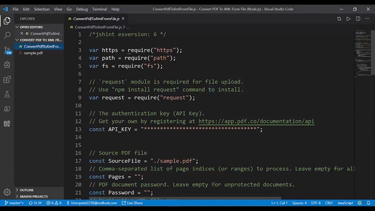 How to Convert PDF to XML API