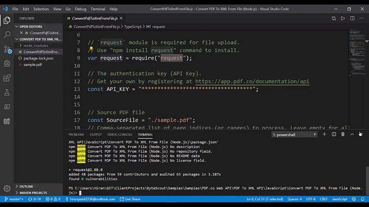 Convert PDF to XML API