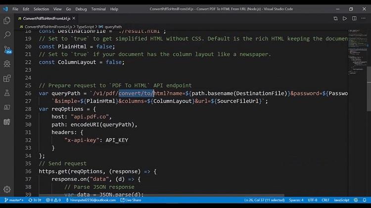 Convert PDF to HTML API