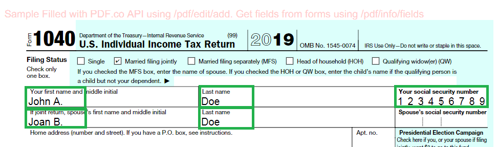IRS Form 1040 Filled Out
