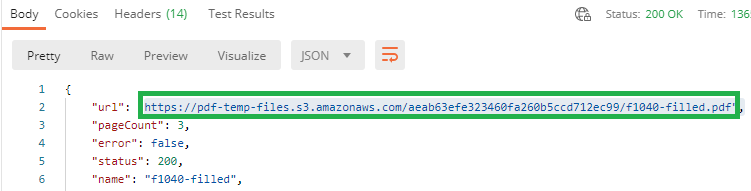 Form F1040 Result URL