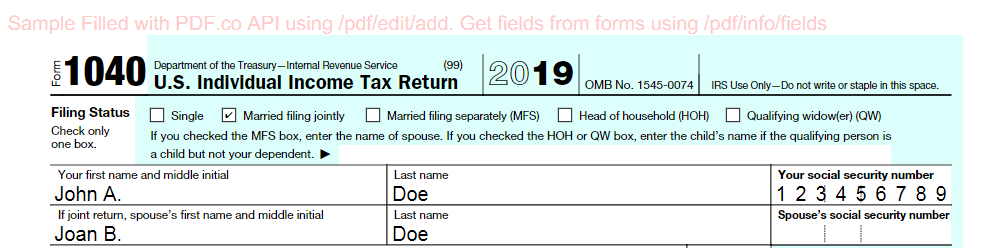Filled-Out IRS F1040 PDF Form
