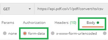 PDF to CSV Body