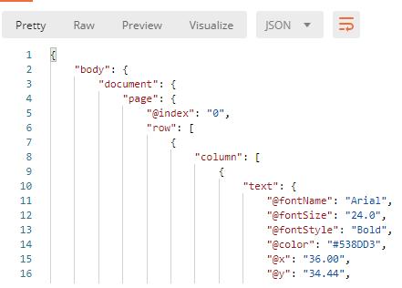 PDF to JSON Result