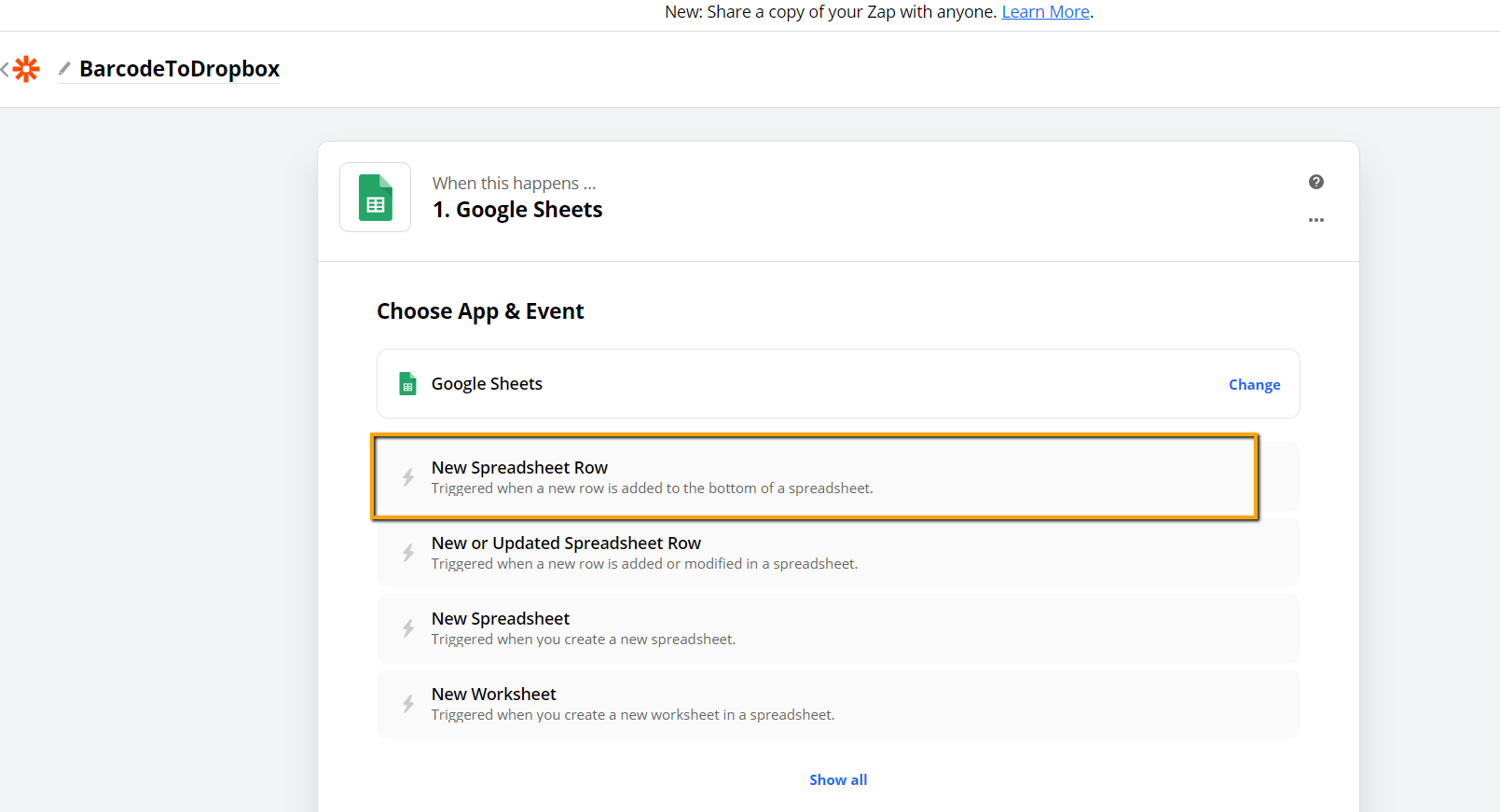 Select Google Sheets and New Spreadsheets Row As The Trigger