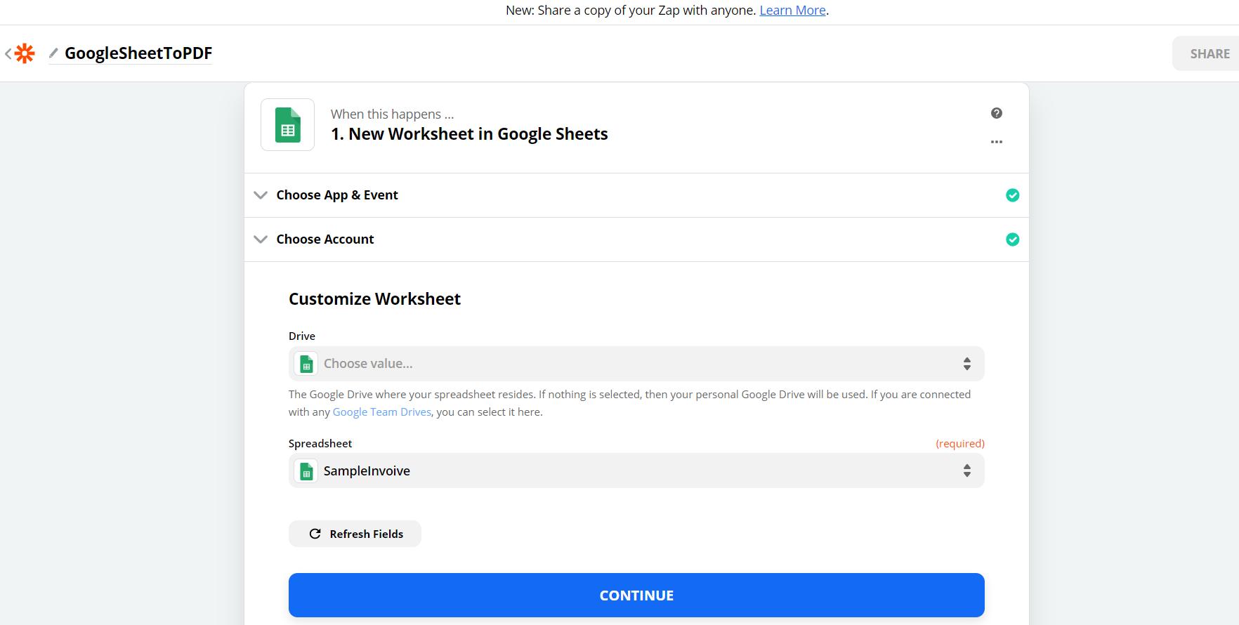 Specify Google Sheet