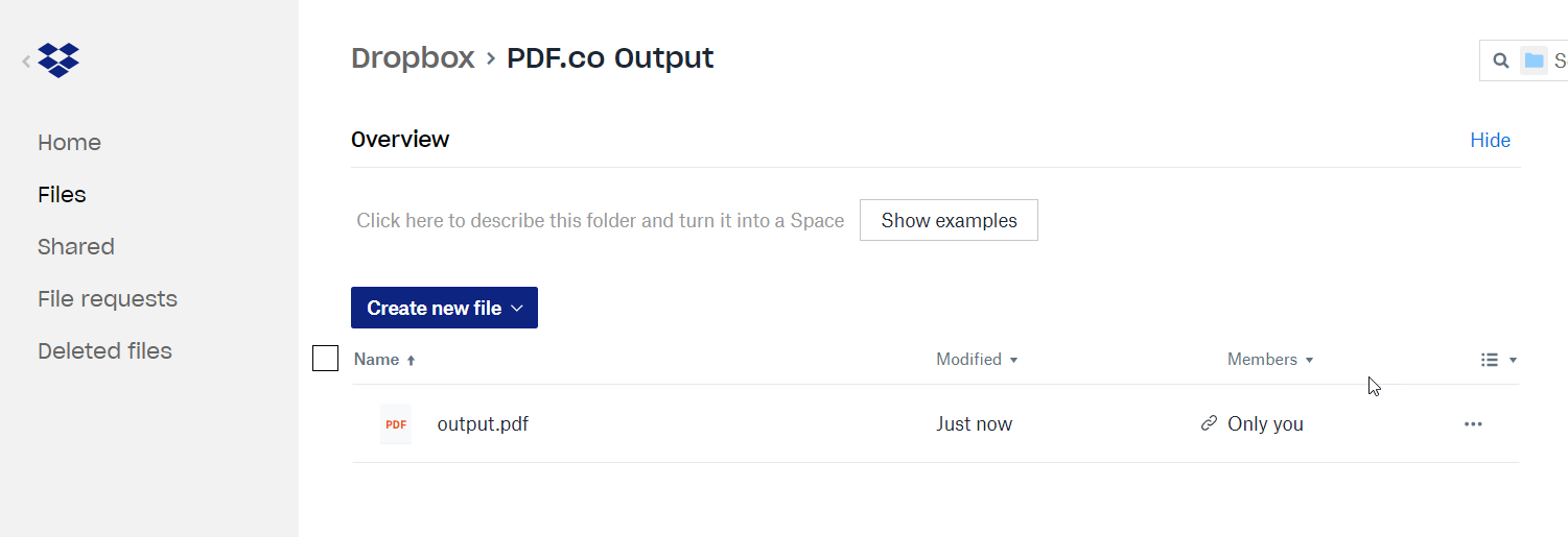 Dropbox Folder With The Uploaded File