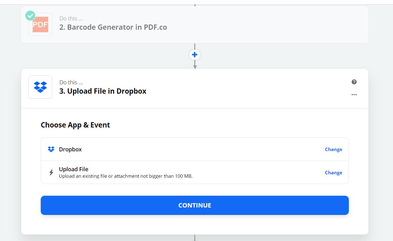 Upload File in Dropbox