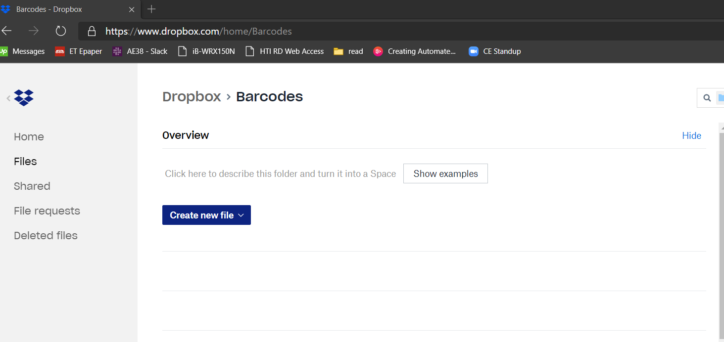 Empty Dropbox Folder To Store The Barcode
