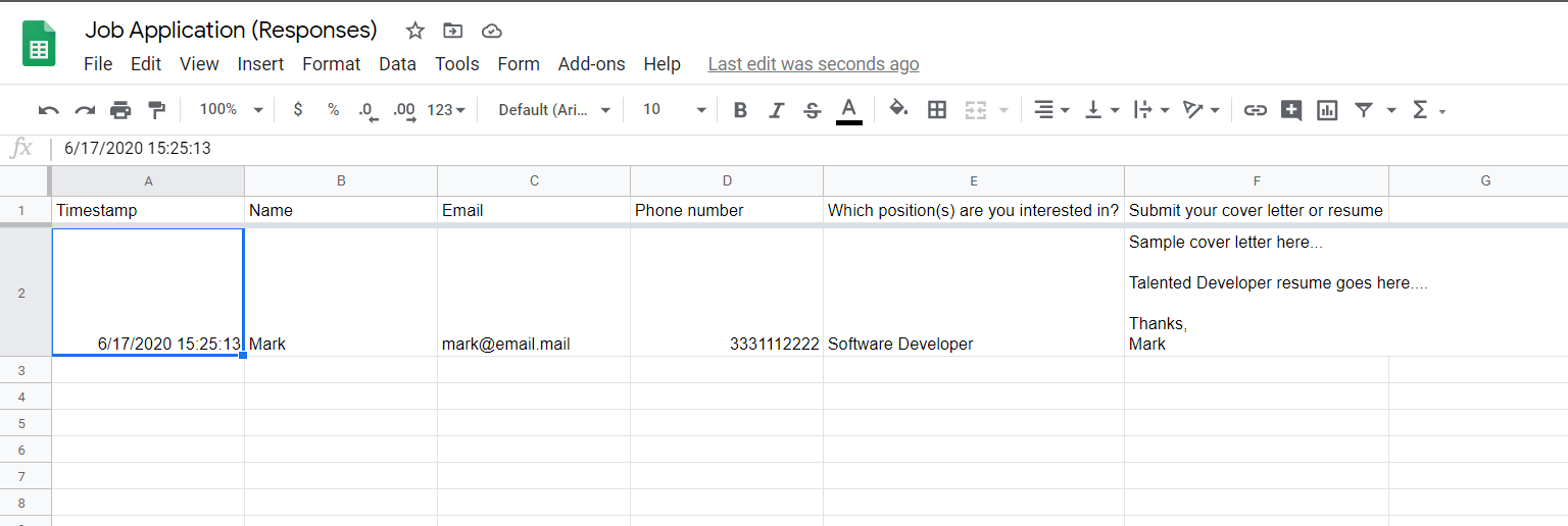 Job Application Response Spreadsheet