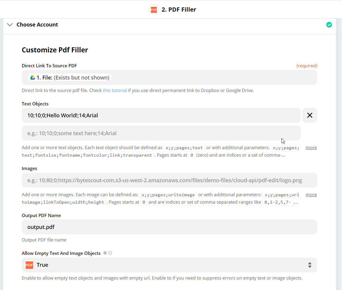 Customize PDF Filler With File Data