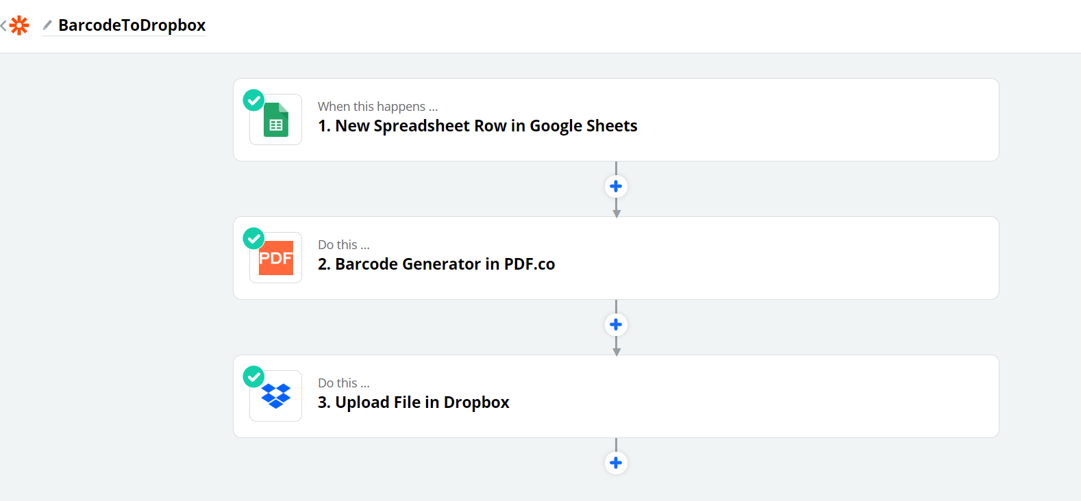 Overview From Spreadsheet, Barcode Generation, and Dropbox Storage