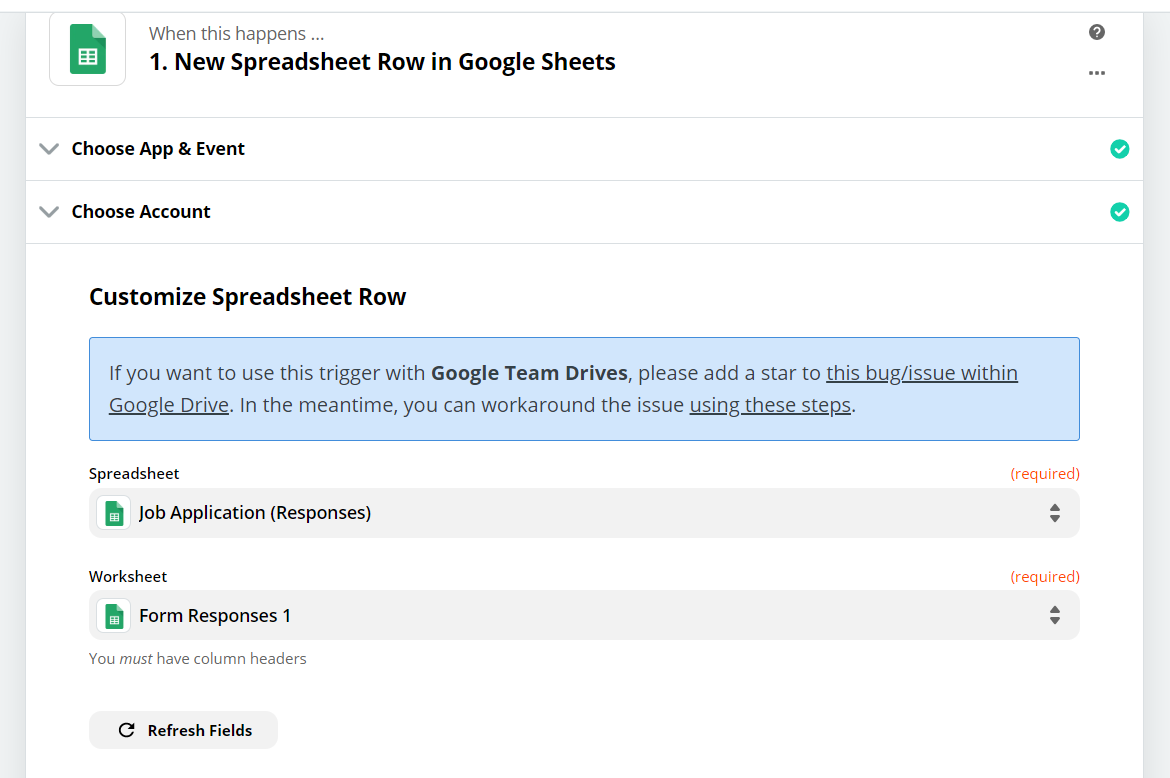 New Spreadsheet Row In Google Sheets Trigger