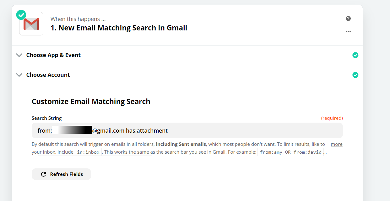 Set Email Matching Search As The Trigger