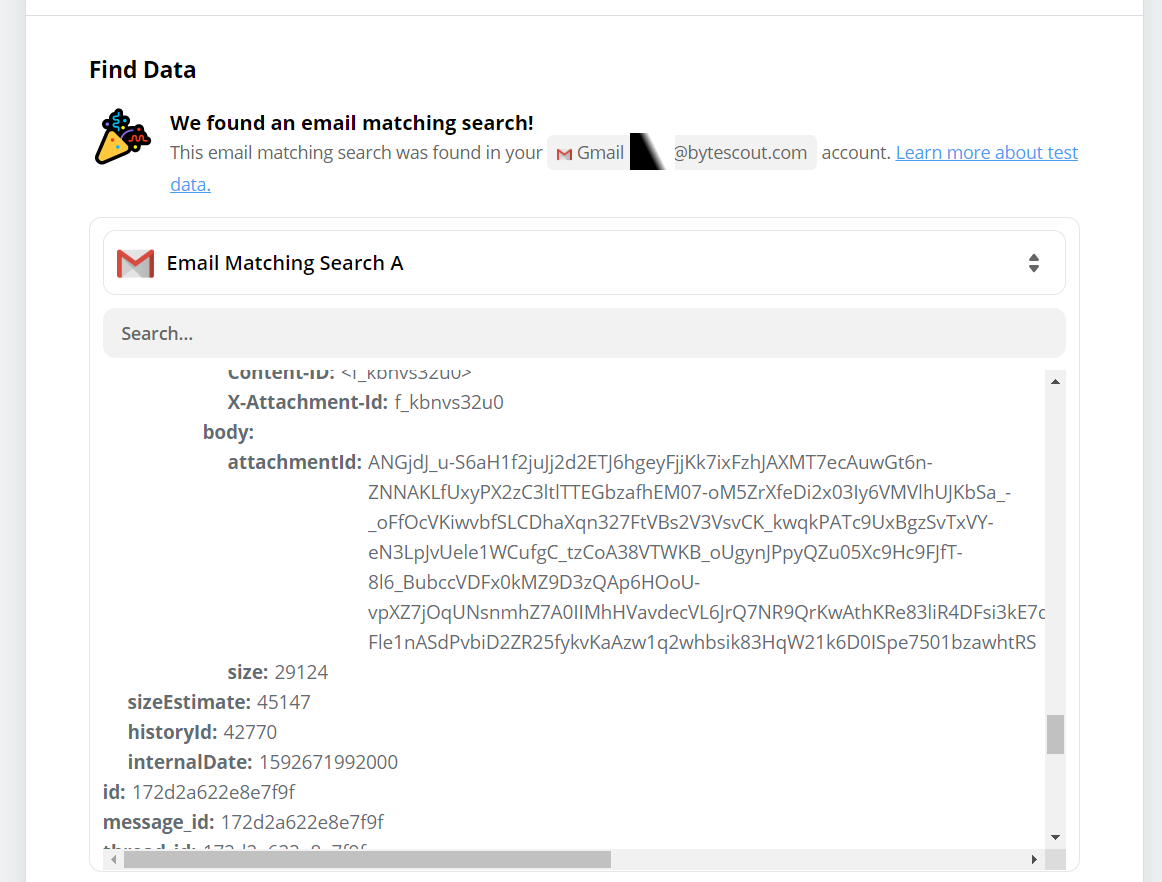 Found Email Matching Search Data