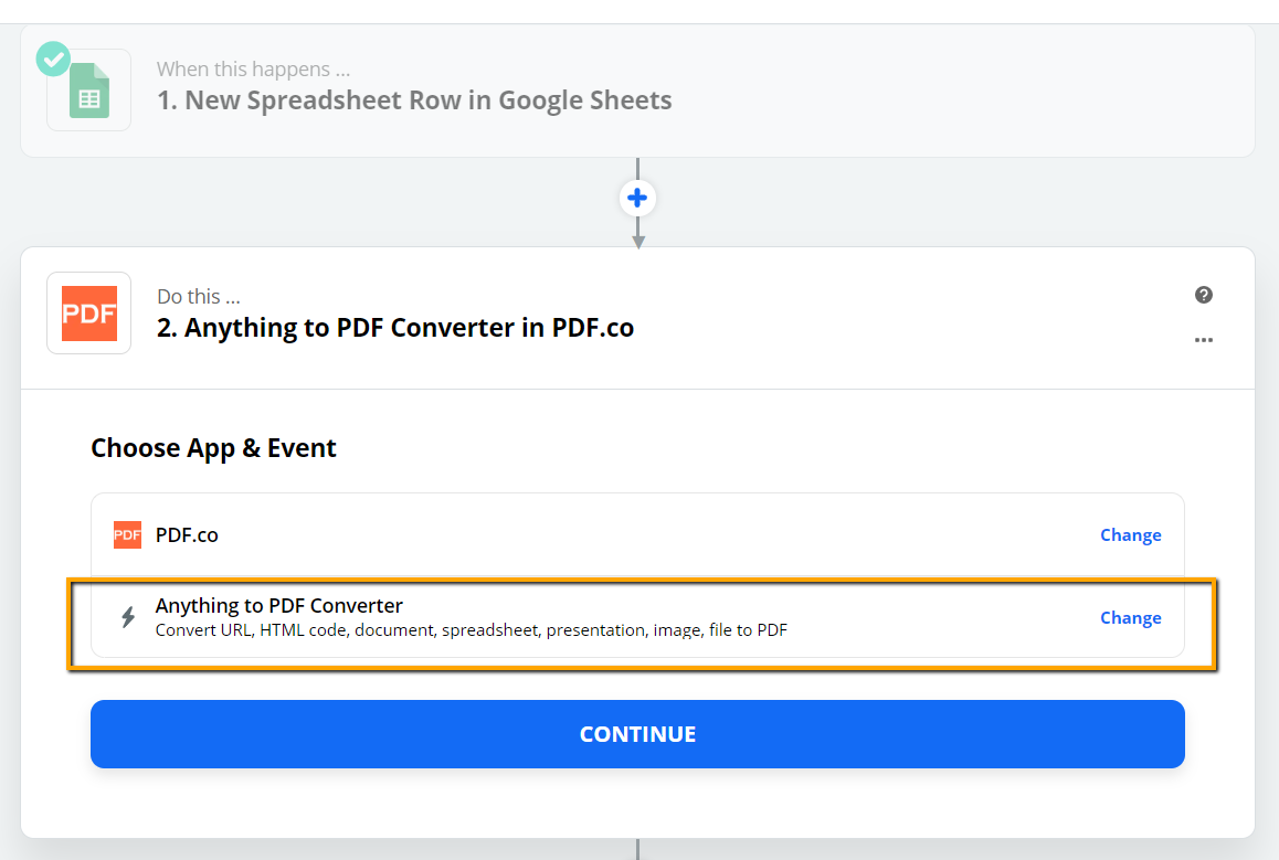 Set Anything to PDF Converter As The Action Step