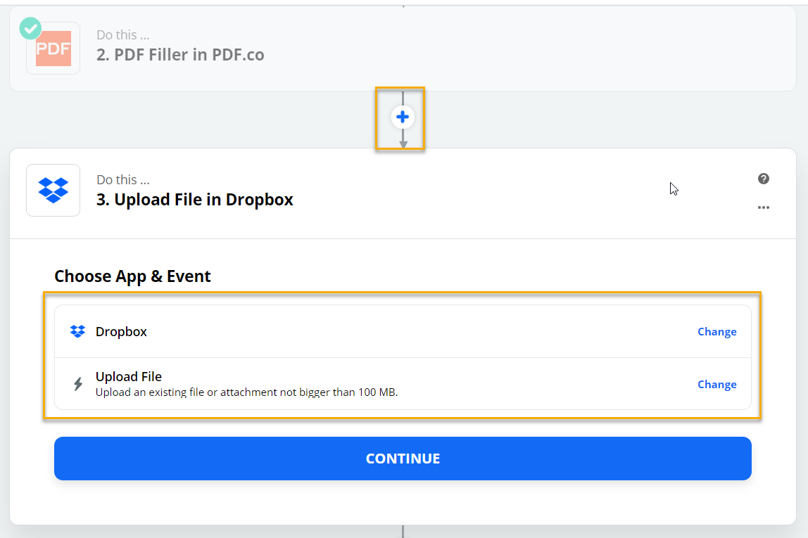 Dropbox - Choose App & Event