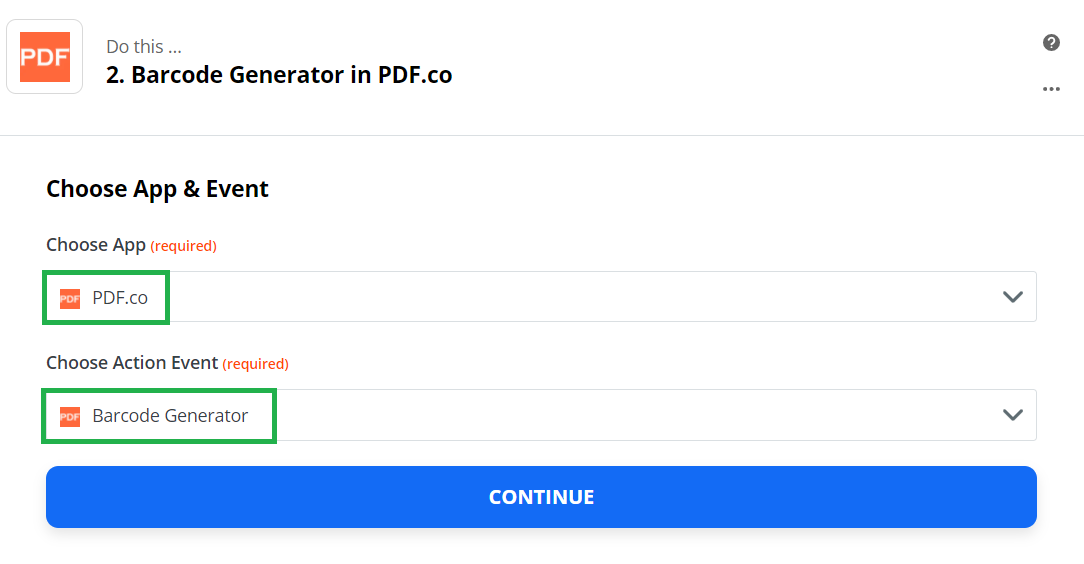 Set Barcode Generator As The Action Step