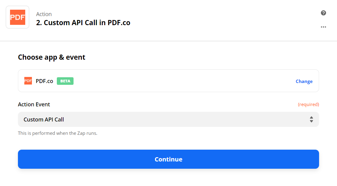 Set Custom API Call In PDF.co As The Action Step