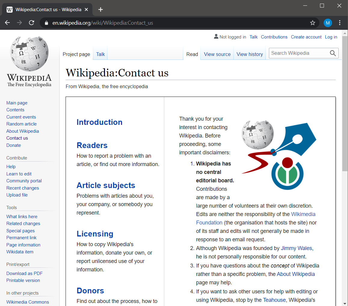Wikipedia Contact Us Page