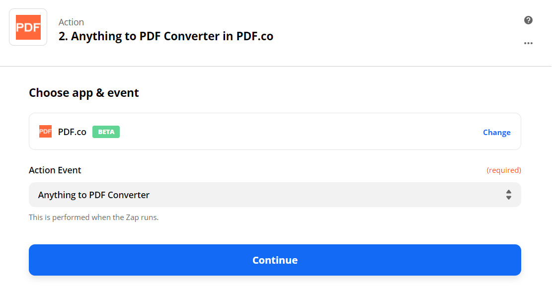Set Anything To PDF Converter As The Action