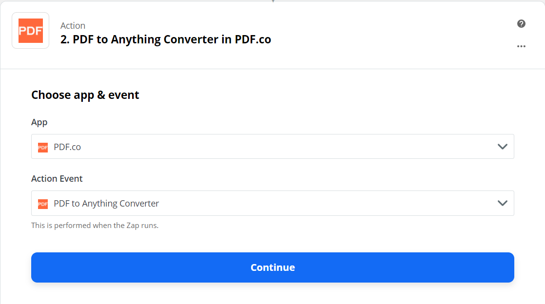 Setup PDF To Anything Converter As The Action Step