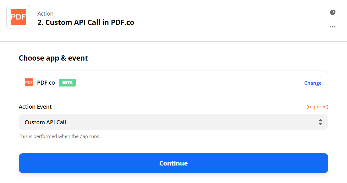 Setup Custom API Call In PDF.co In The Action Step