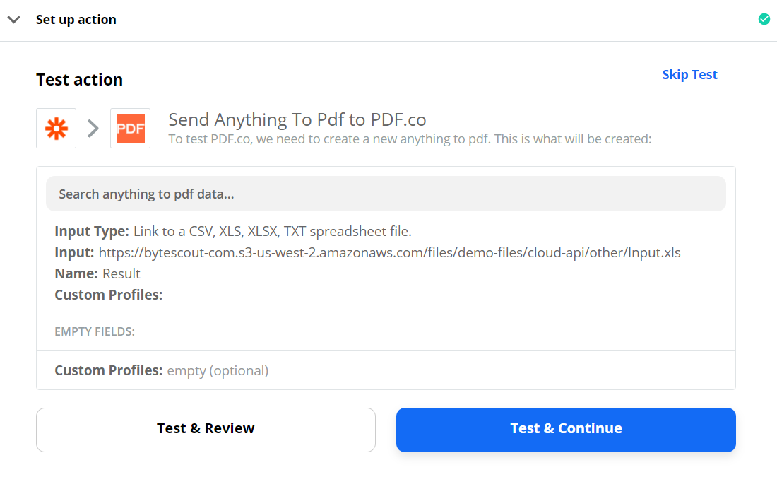 Send Anything To PDF Data To Test And Review