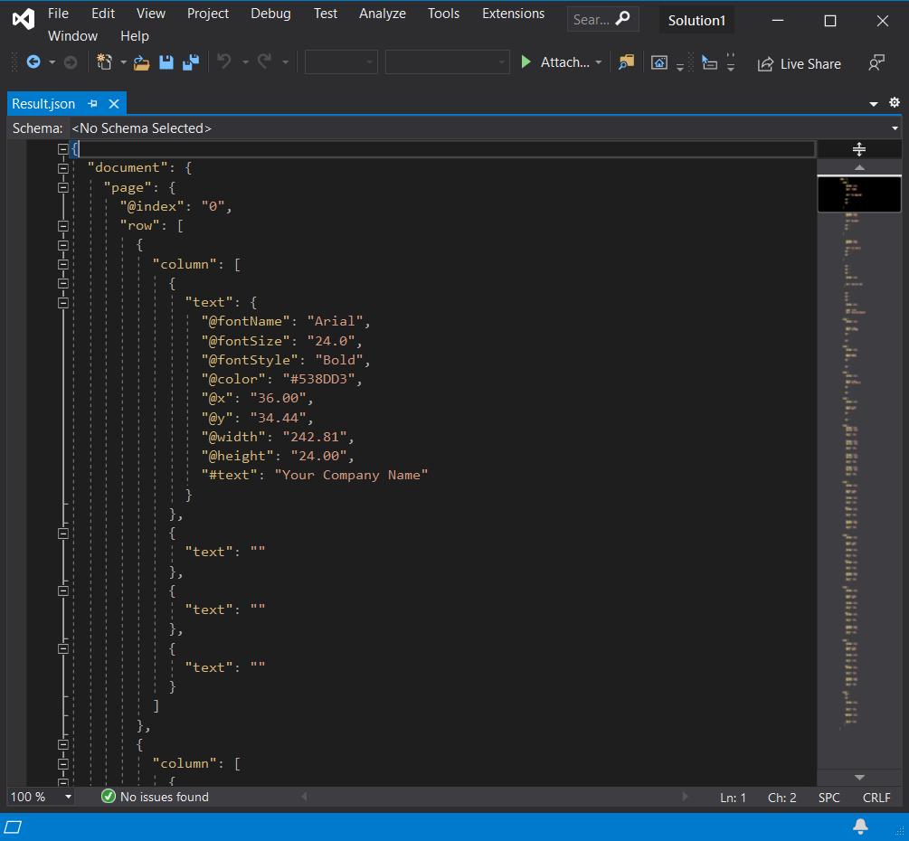 JSON Output With PDF Font Details