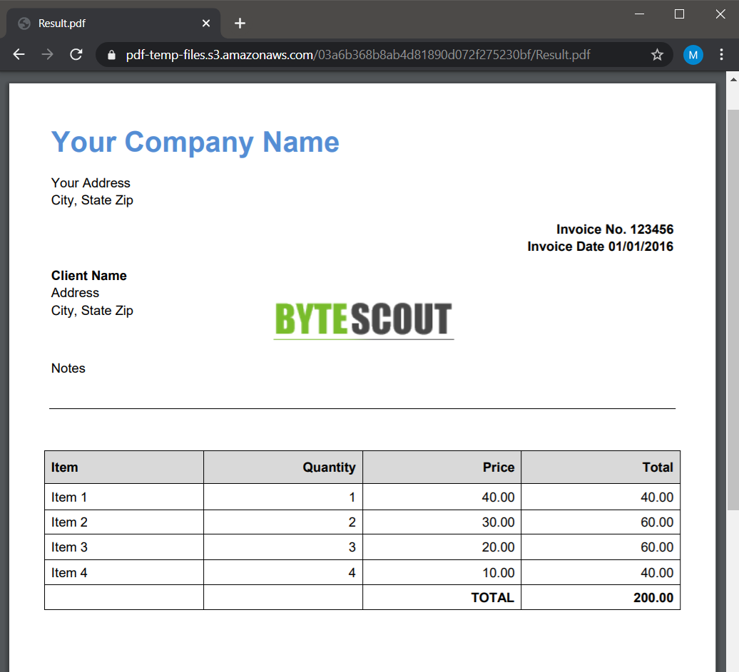Stamped Invoice PDF Output