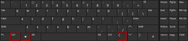 Shortcut Win Key + CTRL + LEFT ARROW
